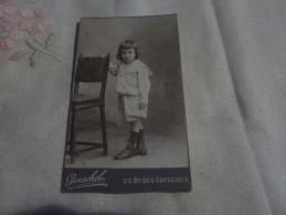 PHOTO ENFANT  PHOTOGRAPHE  A. GERSCHEL  PHOTOGRAPHE DE L´ECOLE POLYTECHNIQUE FORMAT CDV 23  BD DES CAPUCINES - Old (before 1900)