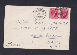 Marcophilie Luxembourg Paire Timbre Rose 90 Barré Surcharge 75 Cad Echternach Vers Nancy Fragment Enveloppe - Machine Stamps (ATM)