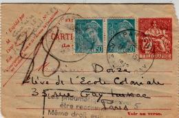 """1942 CARTE PNEUMATIQUE 2F + 2 MERCURE 0.50F GRIFFE """"LES PNEUMATIQUES PEUVENT ÊTRE RECOMMANDÉS......"""" / 7972 - France"""