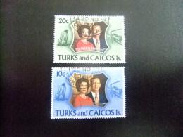 TURKS And CAICOS Islands 1972 NOCES D´ ARGENT De La REINE Yvert N º 297 / 98 º FU