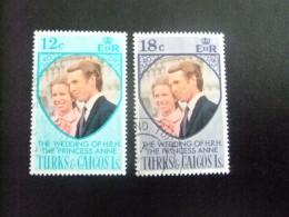 TURKS And CAICOS Islands 1973 MARIAGE ANNE Et MARK PHILLIPS Yvert N º 326 / 327 º FU
