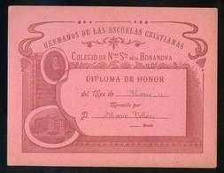 Barcelona. *Colegio De Ntra. Sra. De La Bonanova* Meds: 111x152 Mms. - Diplomas Y Calificaciones Escolares