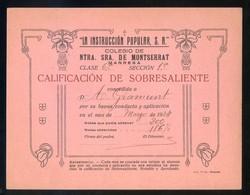 Catalunya. Manresa. *Colegio De Ntra. Sra. De Montserrat* Meds: 120x155 Mms. - Diplomas Y Calificaciones Escolares