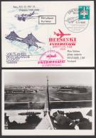 Photokarte Dresden Kaditz Flughafen Sächsische Luftpost Dresden-Leipzig-Dresden Helsinke Erstflug IL62, Brücke - Airships