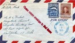 HONDURAS 1953 - 2 Sondermarken Auf FP-Brief Von Honduras Nach New York - Honduras