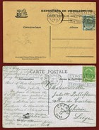 Charleroi  2 Cartes à Slogan Exposition 1911 - Flammes
