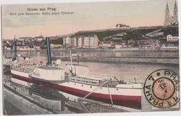 GRUSS Aus PRAG  - Prague - Blick Vom Smichower Hafen Gegen Vysehrad -  Paquebot - Czech Republic