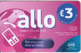 GREECE - Allo Card, OTE Prepaid Card 3 Euro, Tirage 8000, 04/16, Used - Greece