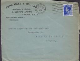 Great Britain POTH, HILLE & Co. Ltd. Manufactures & Merchants LONDON 1936 Cover Brief Denmark EDVIII. Stamp - Briefe U. Dokumente