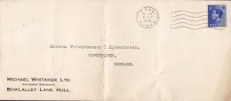 Great Britain MICHAEL WHITAKER Exchange Buildings HULL Yorks 1936 Cover Brief Denmark EDVIII. Stamp - Briefe U. Dokumente
