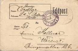 FELDPOSTBRIEF Gel.1917 V.Feldpostamt POLA Nach Wien II, Brief Mit Inhalt - 1914-18