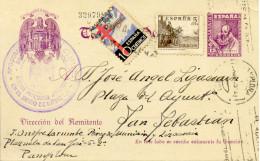 """1939 """" Entero De Pamplona A San Sebastian """" Franqueo Complementario Pro Tuberculosos"""