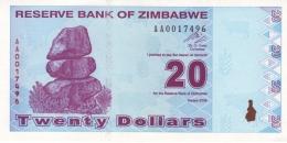ZIMBABWE 20 DOLLARS 2009 P-95 UNC  [ZW186a] - Zimbabwe