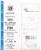 Spain , Espagne , Barcelona City Tour Ticket  , Teleferic De Montjuic Ticket , 2015 , Used - Transportation Tickets