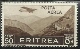 ERITREA 1936 SOGGETTI AFRICANI POSTA AEREA AIR MAIL CENT. 50 C  MNH - Eritrea
