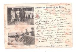 CARD SENT TO RUSSIA RUSSIAN POSTMARK Souvenir Du Passage De La Ligne ( L'Equateur ) Amusement à Bord D'un Steamer - Paquebots