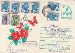 ROMANIA - 2 Lei Ganzsache + 2+5+6x25 Lei Auf Flugpost-Brief Gel.v.Bucarest N.Vienna - Luftpost