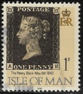 Isle Of Man SG442 1990 Penny Black 1p AE Good/fine Used [12/12546/25D]