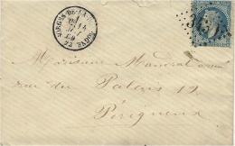 1869- Env. De SORGES-DE-LA-DORDOGNE ( Dordogne ) Cad T16 Affr. N°29 Oblit. G C 3439 - Storia Postale