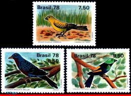 Ref. BR-1557-59 BRAZIL 1978 - BIRDS,CANARY,COTINGA,, TANAGER FASTUOSA,MI# 1651-53,MNH, ANIMALS & FAUNA 3V Sc# 1557-1