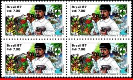 Ref. BR-2124-Q BRAZIL 1987 FAMOUS PEOPLE, GABRIEL S. DE SOUSA,, TREATISE, CATS, FISH, SHIPS, BLOCK MNH 4V Sc# 2124