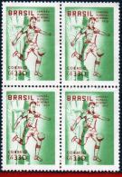 Ref. BR-887Q BRAZIL 1958 FOOTBALL-SOCCER, 1959, BRAZIL CHAMPION,, WORLD CUP CHAMPIONSHIP, BLOCK MNH 4V Sc# 887 - Blocks & Sheetlets
