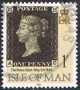 Isle Of Man SG442 1990 Penny Black 1p AC Good/fine Used [12/12544/25D]