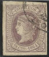 1864 19 Cu - Edifil 66 - Usado - Marquillado A. Diena - Magnifico ! - 1850-68 Kingdom: Isabella II