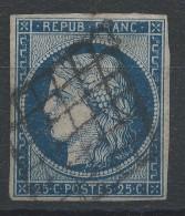 Lot N°32578     Variété/n°4, Oblit Grille De 1849, Nuage Face Au Menton, Belles Marges Mais Un Clair