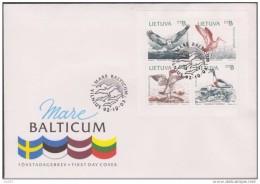 1992: FDC Yvert 432 / 435 Oiseaux De Mare Balticum Emission Commune Suede Estonie Lettonie  Michel 501 / 504