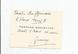 FERNAND GRAVEY CARTE DE VISITE ANCIENNE AVEC AUTOGRAPHE - Autographes