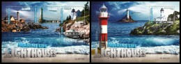 SIERRA LEONE 2016 - Lighthouses. Marine Life, M/S + S/S. Official Issue.