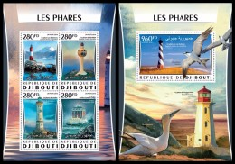 DJIBOUTI 2016 - Lighthouses, M/S + S/S. Official Issue