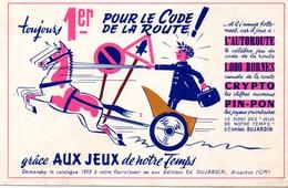 BUVARD - 1ER AU CODE DE LA ROUTE GRACE AUX JEUX L'AUTOROUTE - 1000 BORNES - CRYPTO - PIN-PON - Sports
