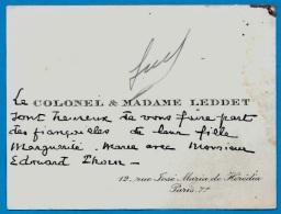 En L´état Carte De Visite - Faire-Part Fiançailles Le COLONEL & MADAME LEDDET Rue José Maria De Hérédia 75007 PARIS - Verloving