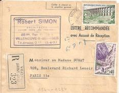 N° 1240 - 1237 Sur LETTRE RECOMMANDEE Avec Accusé De Réception De VILLENEUVE-S-GEORGES Du 18/5/1961 - Marcophilie (Lettres)