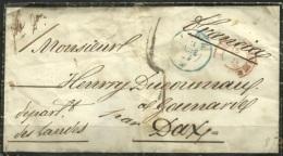 SPAIN - ESPAGNE 1855 - Carta De Luto - Cadiz A Francia - 1850-68 Reino: Isabel II