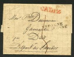 SPAIN - ESPAGNE 1855 - 1827 CADIZ A Francia - Envuelta Prefilatelica - Espagne Par Bayonne - ...-1850 Prefilatelia