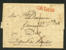 SPAIN - ESPAGNE 1855 - 1827 CADIZ A Francia - Envuelta Prefilatelica - Espagne Par Bayonne - Spain