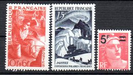 N° 826/827/829 - Neuf** -  Méttalurgie - Marianne De Gandon Surchargée -Expéditions Polaires Paul Emile Victor