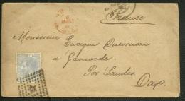 SPAIN - ESPAGNE 1880 Carta - Alfonso 25c A Francia Con Fechador Trebol Estafeta De Cambio - Cartas