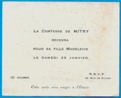 """En L'état Faire-part Invitation Noblesse """"La COMTESSE De MITRY Recevra Pour Sa Fille Madeleine"""" Rue Clichy (75009 PARIS) - Faire-part"""