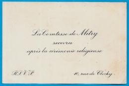 """Faire-part Invitation Noblesse """"La COMTESSE De MITRY Recevra Après La Cérémonie Religieuse"""" Rue De Clichy (75009 PARIS) - Faire-part"""