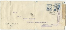 SPAIN - ESPAGNE 1938 - CARTA COMERCIAL A FRANCIA - 50C Y VIÑETA CRUZADA FRIO - CENSURA - 1931-50 Cartas