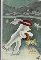 CPA Bonhomme De Neige Snowman Circulé Oilette Patinage Patin à Glace - Christmas