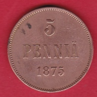 Finlande - 5 Pennia 1875 - Alexandre II De Russie - Finlande