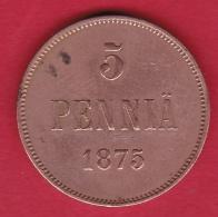 Finlande - 5 Pennia 1875 - Alexandre II De Russie - Finland