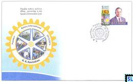Sri Lanka Stamps, K.R. Ravindran, Rotary International, Special Commemorative Cover - Sri Lanka (Ceylon) (1948-...)