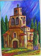 Religion Chapelle Notre Dame Des Vertus Hérault Oeuvre Originale Pastel Huile Feuille Art Paulhan (34) Tableau église - Pastels