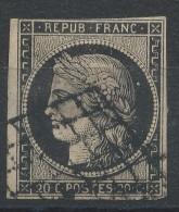 Lot N°32603   Variété/n°3, Oblit Grille De 1849, Tache Blanche Dèrierre La Tête